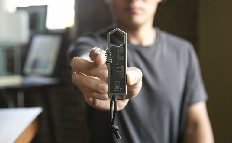 Big Idea Design Ti EDC Wrench One-Handed Tool gives you immediate access to an adjustable wrench