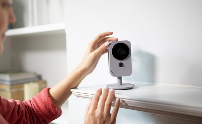 Blue Indoor HD Security Camera lets you see and speak to anyone inside your house