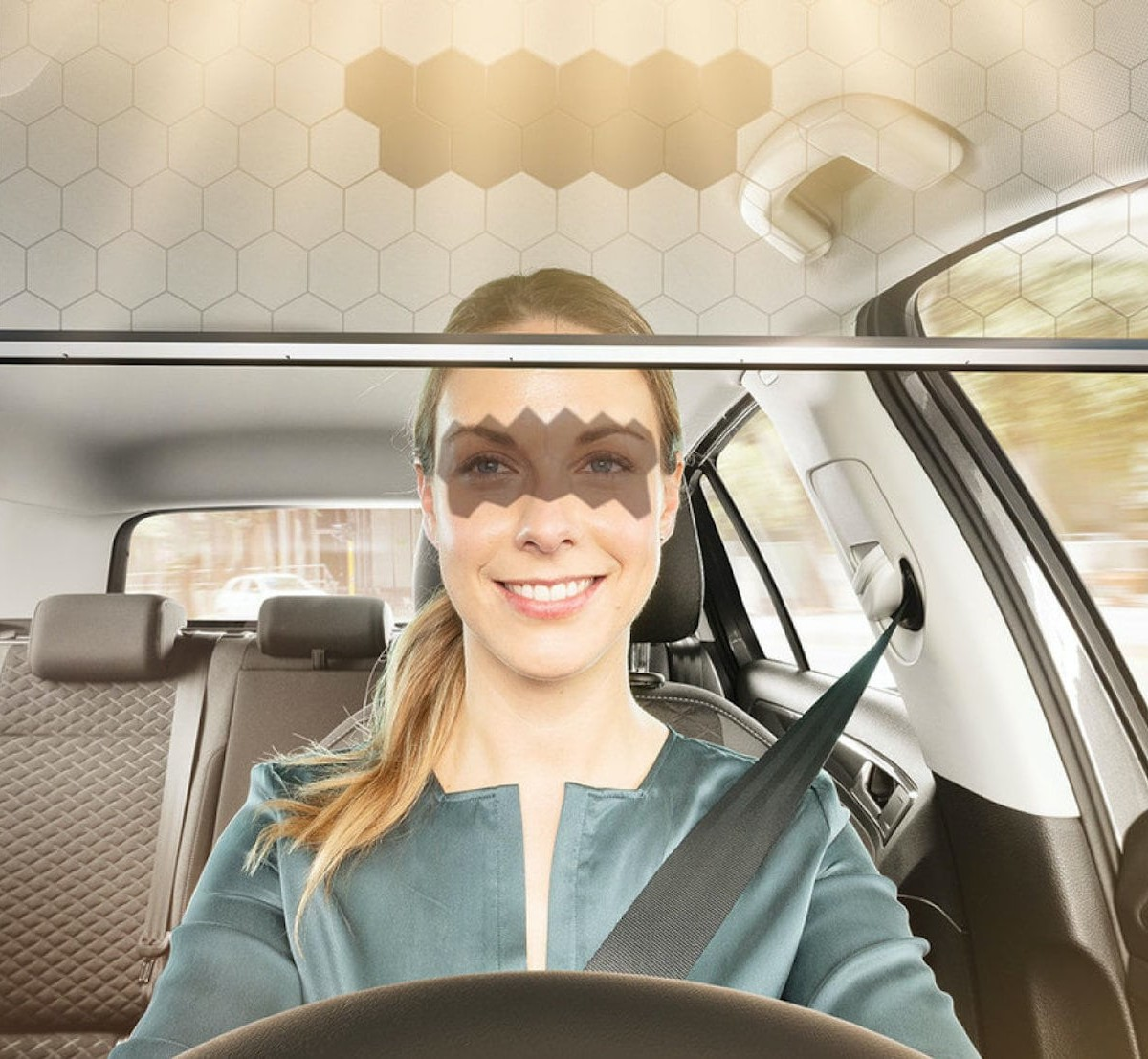 Bosch Virtual Vehicle Visor moves to block the sun while you're driving