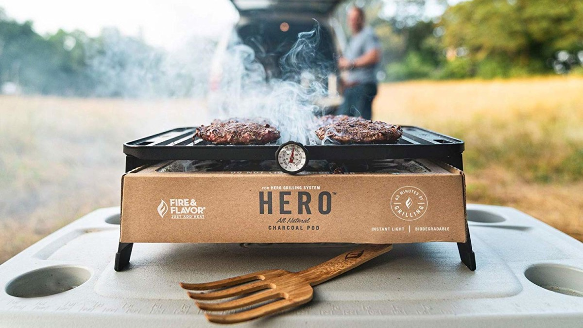 Fire & Flavor HERO Grill Portable Cooking Station gets you ready to barbecue in 10 minutes