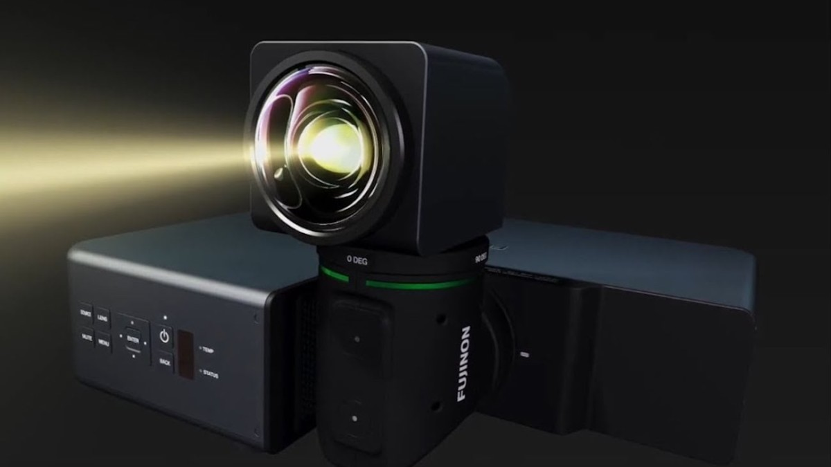 Fujifilm FP-Z5000 Short-Throw Projector has a rotating lens to project on the ceiling