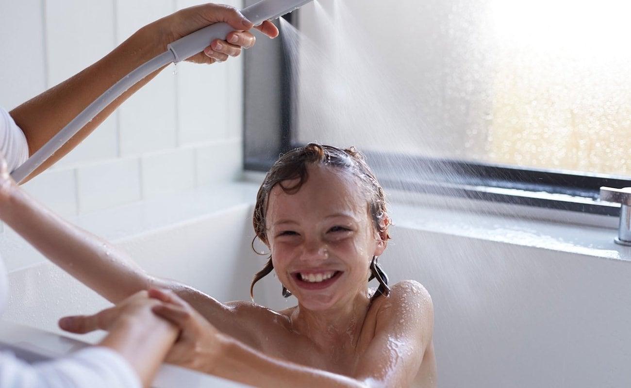 Teen girl showering