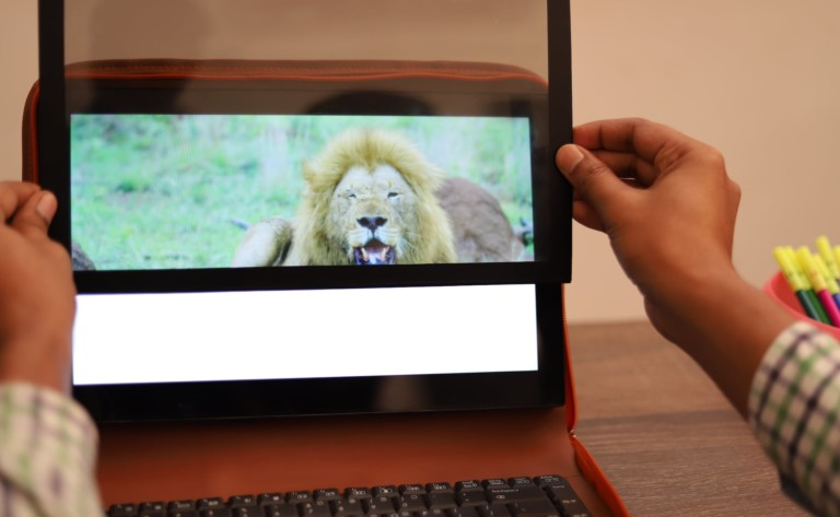 Privli Private Monitor Screen is portable and convertible for privacy anywhere