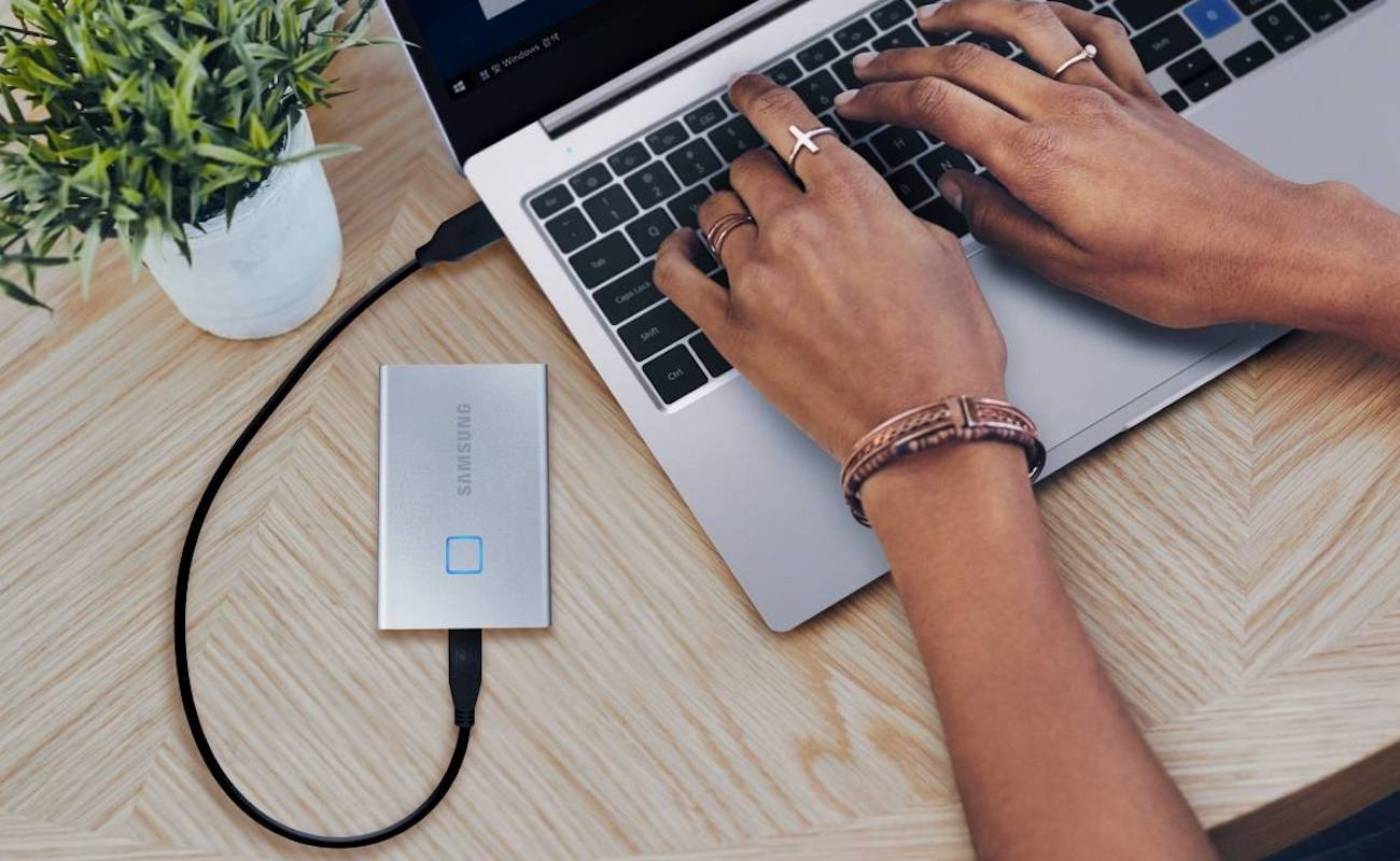 Samsung T7 Touch Portable SSD unlocks with your fingerprint