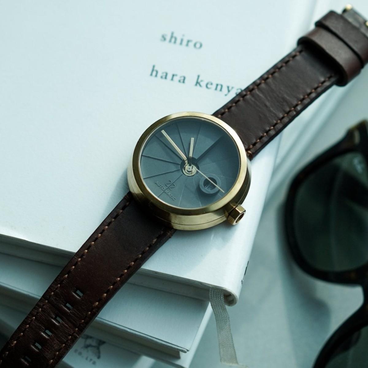 22STUDIO 4D Concrete Watch Brass Minimalist Timepiece is like wrist-worn architecture
