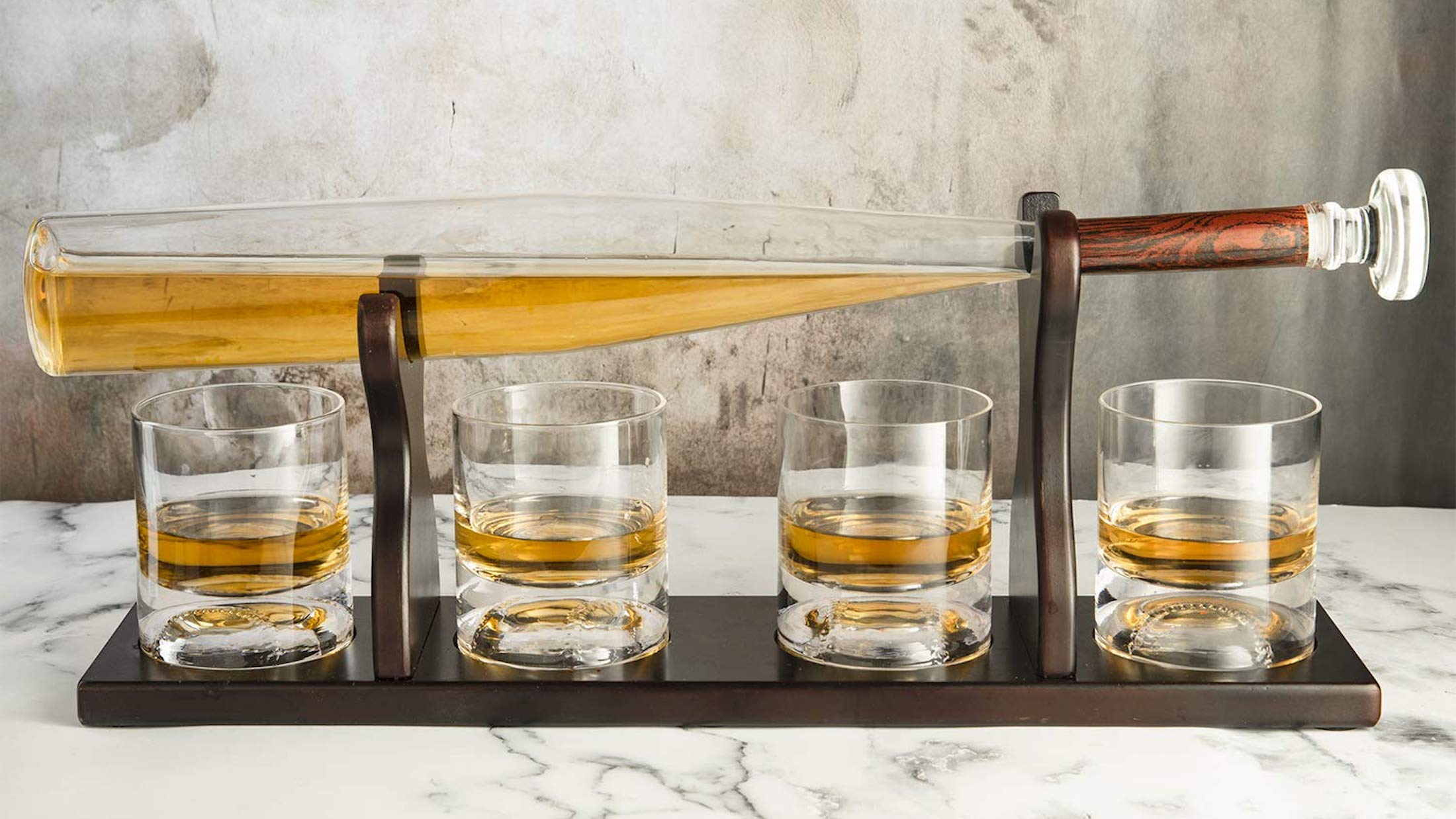 Baseball Bat Whiskey Decanter & Glasses proudly displays your finest spirits