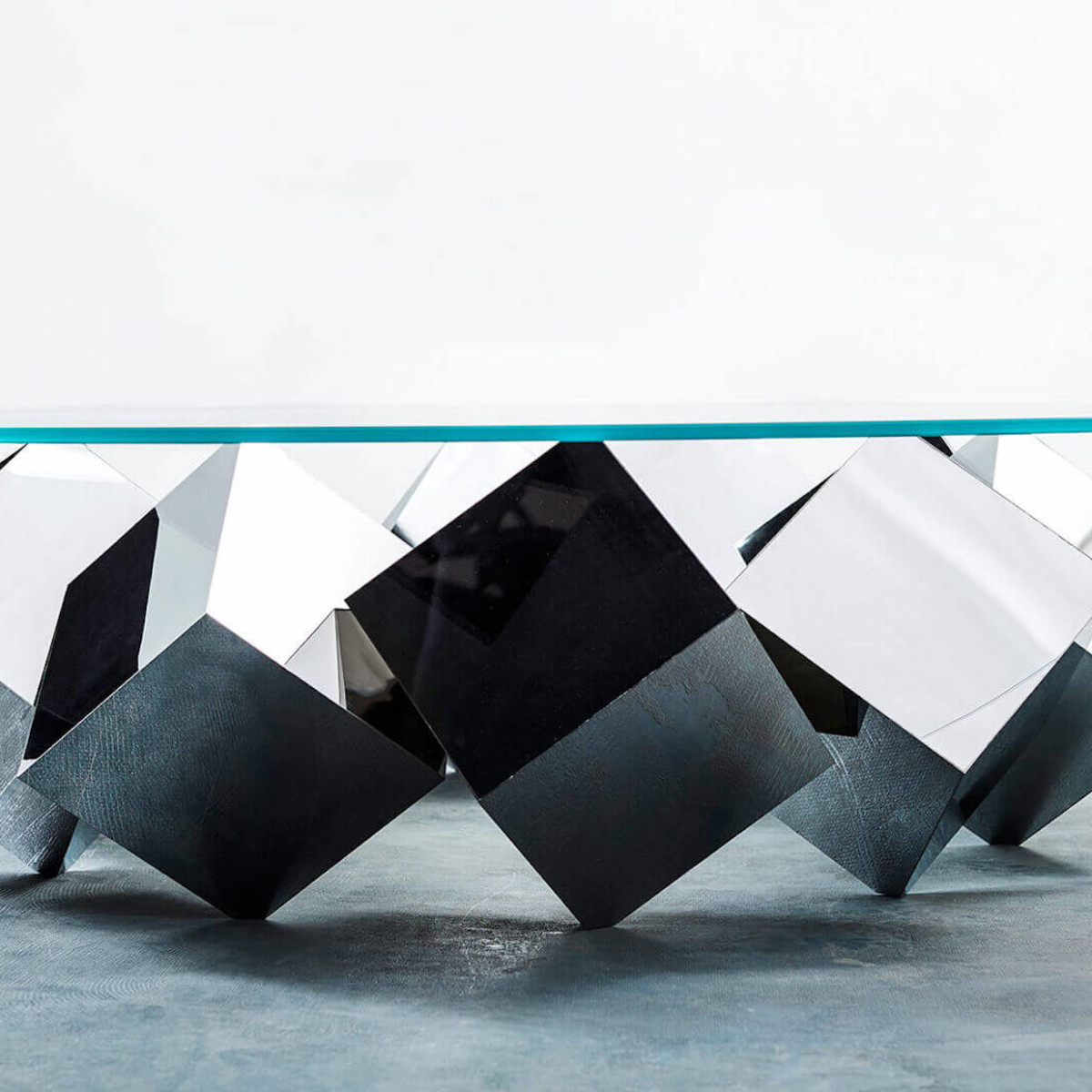 Duffy London Magic Mirror Cubic Coffee Table appears as if it's in motion