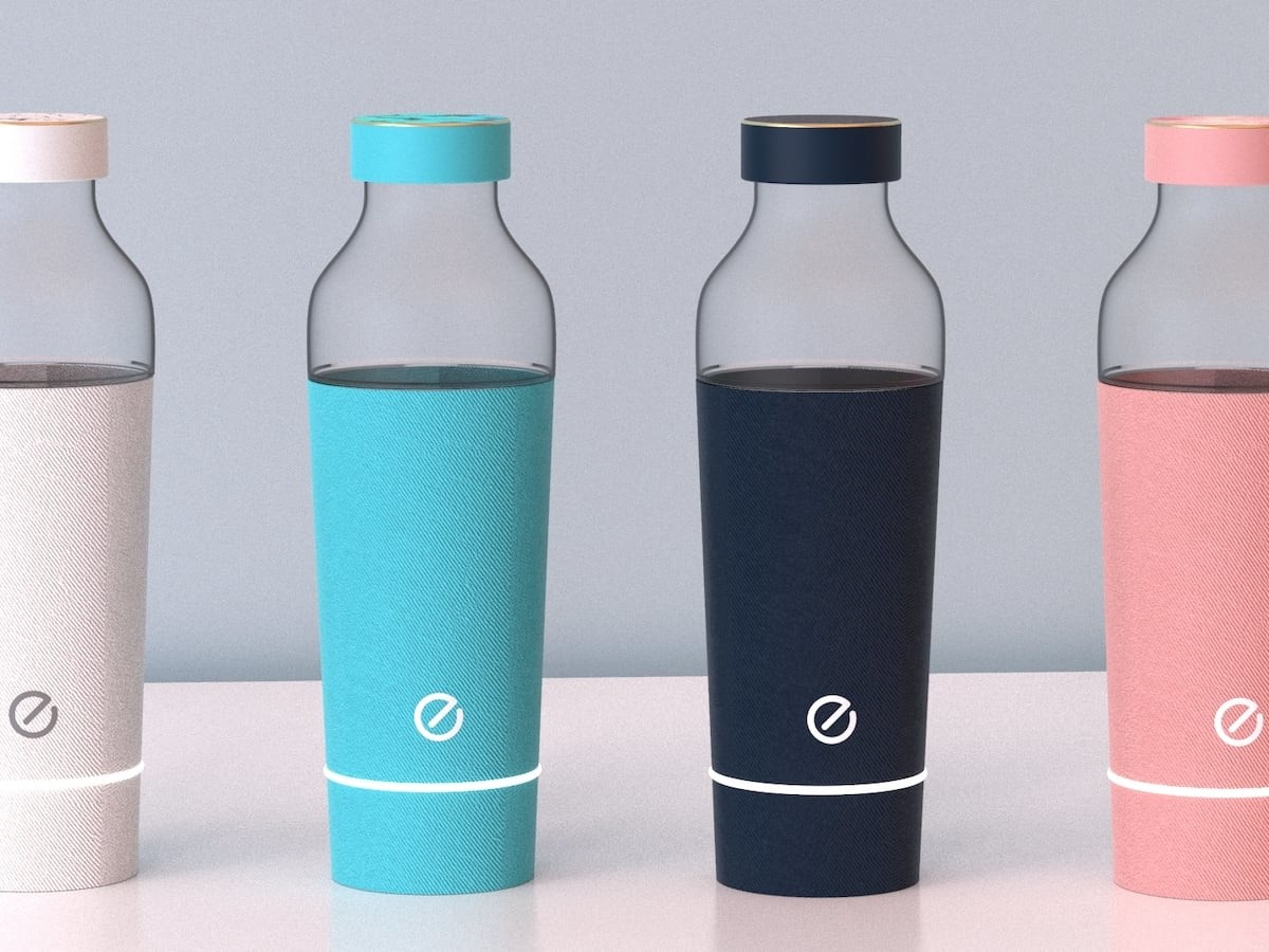 EVE Healthcare Companion Water Bottle stores up to 20 pills and reminds you to take them