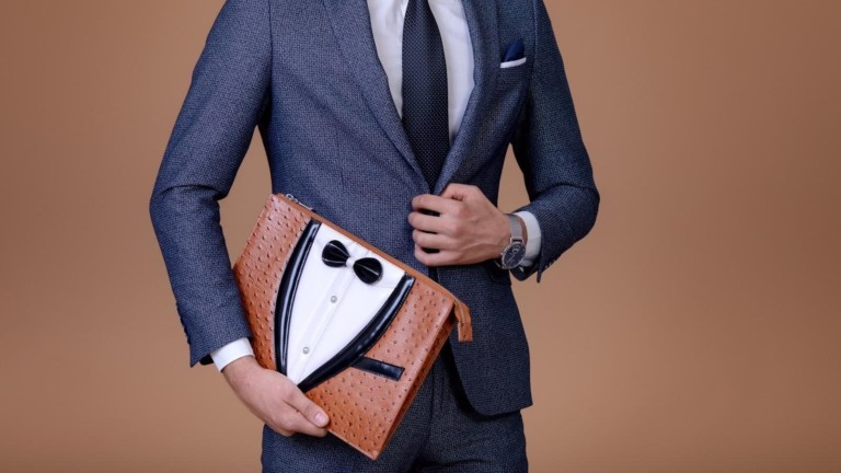 KNOTTY ClutchBags Clothing-Inspired Bags act as multifunctional leather folios