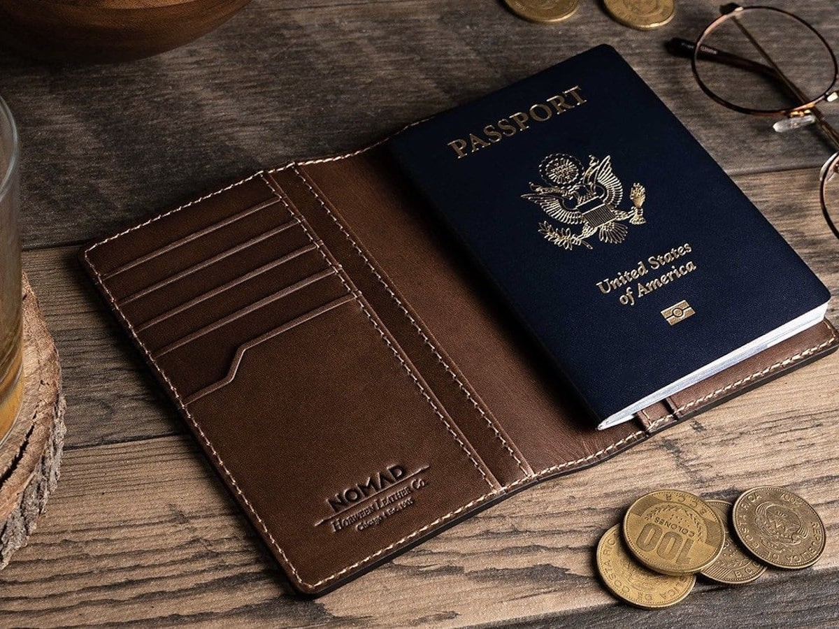 Nomad Traditional Location-Tracking Passport Wallet comes with a slim Tile tracker