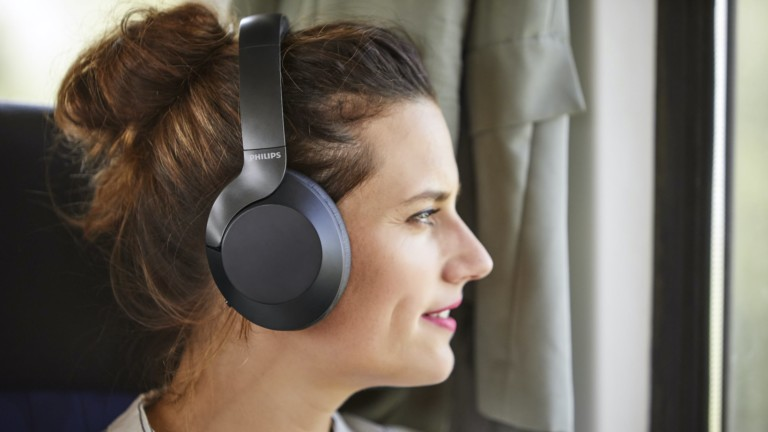 Philips Performance PH805BK Hi-Res Audio Headphones offer active noise canceling