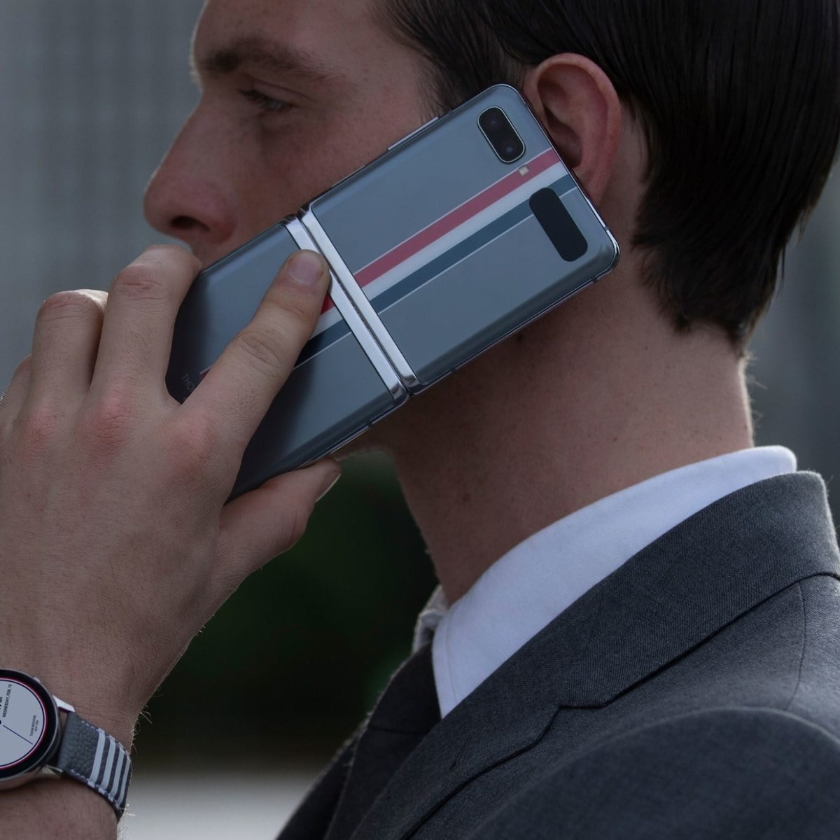 Samsung Thom Browne Edition Galaxy Z Flip, Galaxy Buds+, & Watch Active2 blend fashion and technology