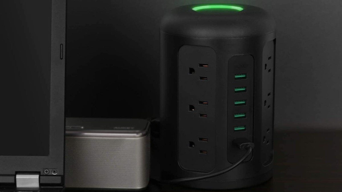 AUKEY Power Strip Surge Protector Tower has 18 spots to plug in