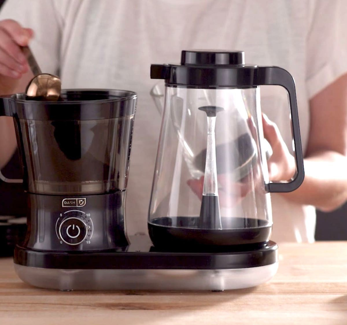 Dash Rapid Cold Brew System Coffee Carafe prepares your joe in just five minutes