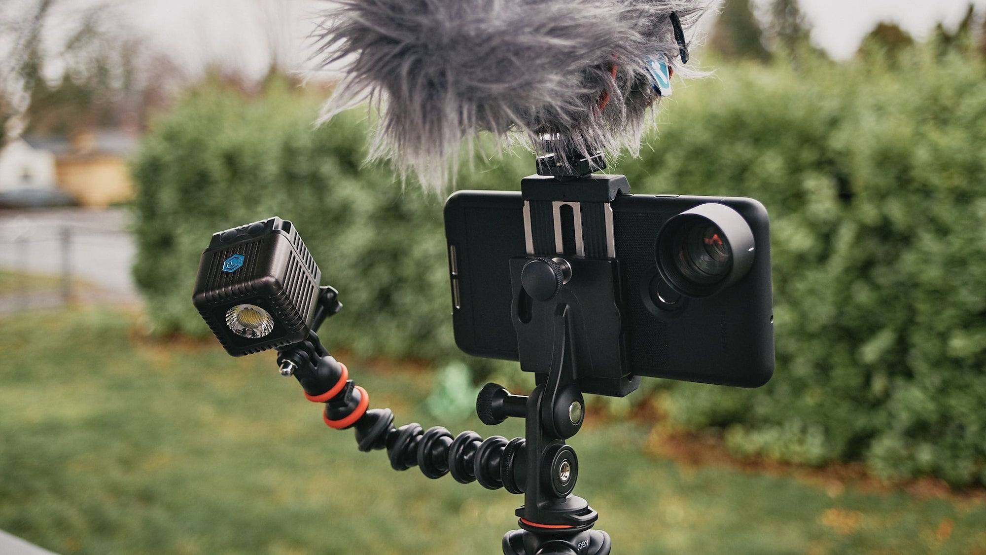 JOBY GorillaPod Mobile Rig Smartphone Tripod has spots for lights and a microphone