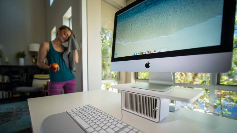 Kensington Coolview Wellness Monitor Stand with Desk Fan raises the screen & circulates air