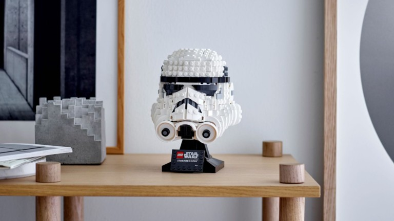 LEGO Star Wars Stormtrooper Helmet Building Set includes graphic stickers