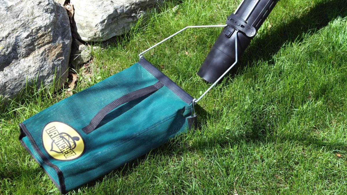 Lawnch-It Leaf Blower Attachment lets you easily collect debris as you work