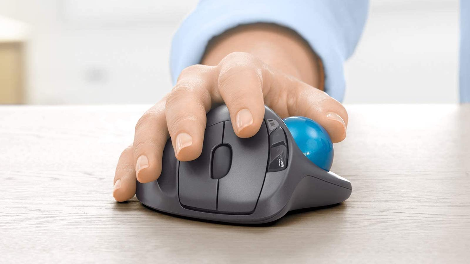 Logitech M570 Wireless Trackball Mouse is sculpted for your hand's comfort