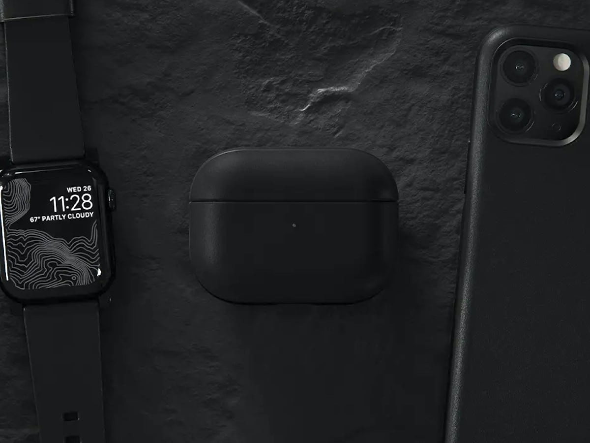 Nomad Rugged Case Leather AirPods Pro Cover comes in two pieces to display the charging light