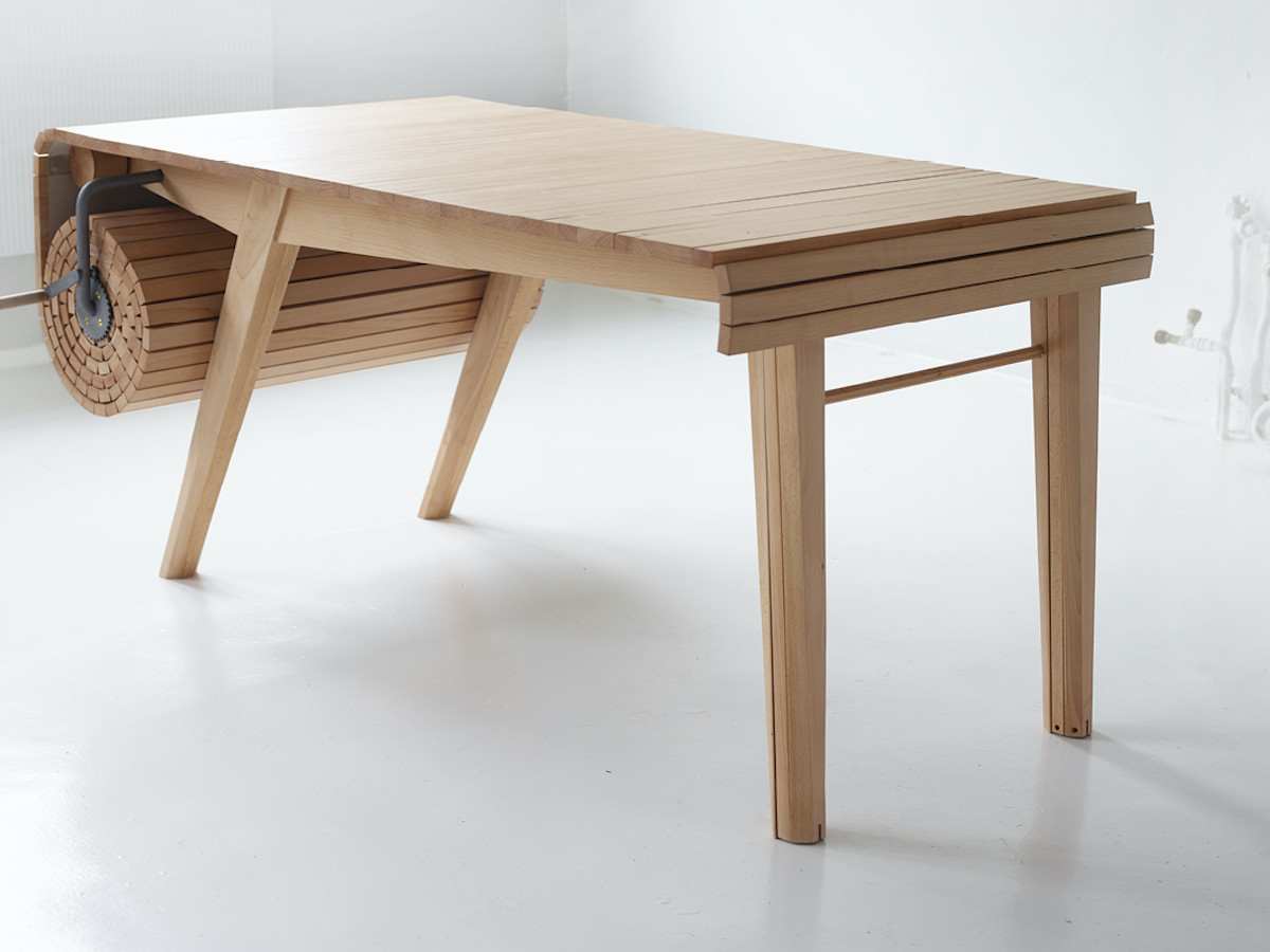 Roll-Out Table Adjustable Tabletop lets you serve a variety of group sizes