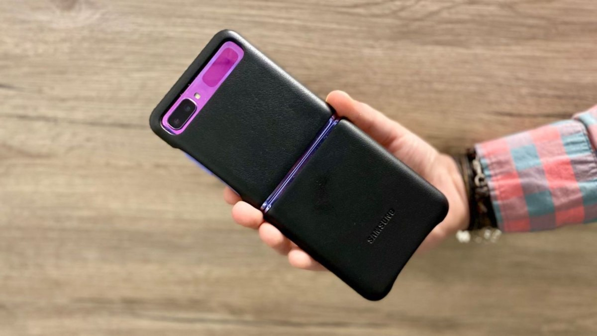 Samsung Galaxy Z Flip Genuine Leather Cover is slim and easy to hold
