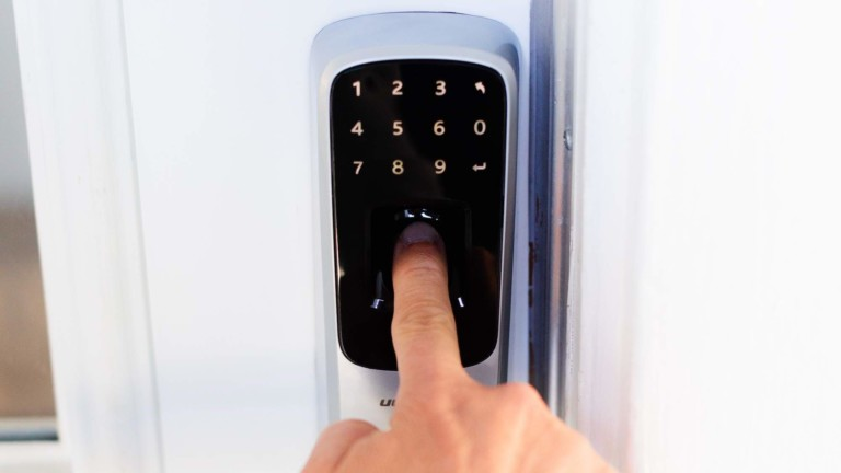 Ultraloq UL3 BT Smart Lever Lock uses a Bluetooth-enabled fingerprint scanner