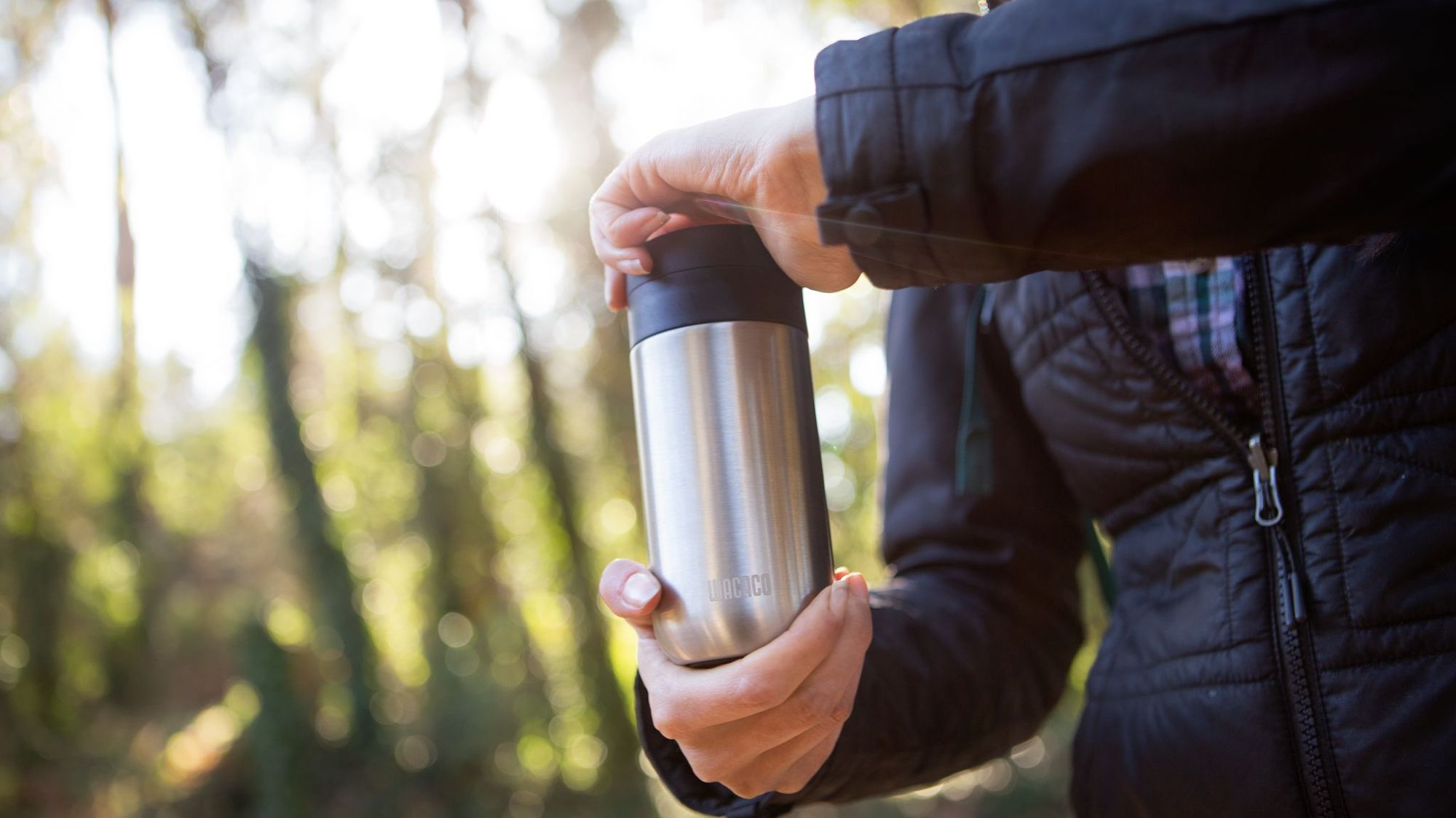 Wacaco Nanovessel Vacuum-Insulated Flask is a tumbler, tea infuser, and water bottle in one