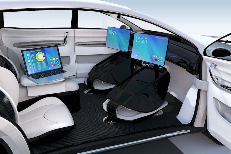 Self-driving car futuristic design setup