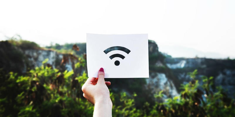 A person is holding up the Wi-Fi symbol on a piece of paper in front of trees.