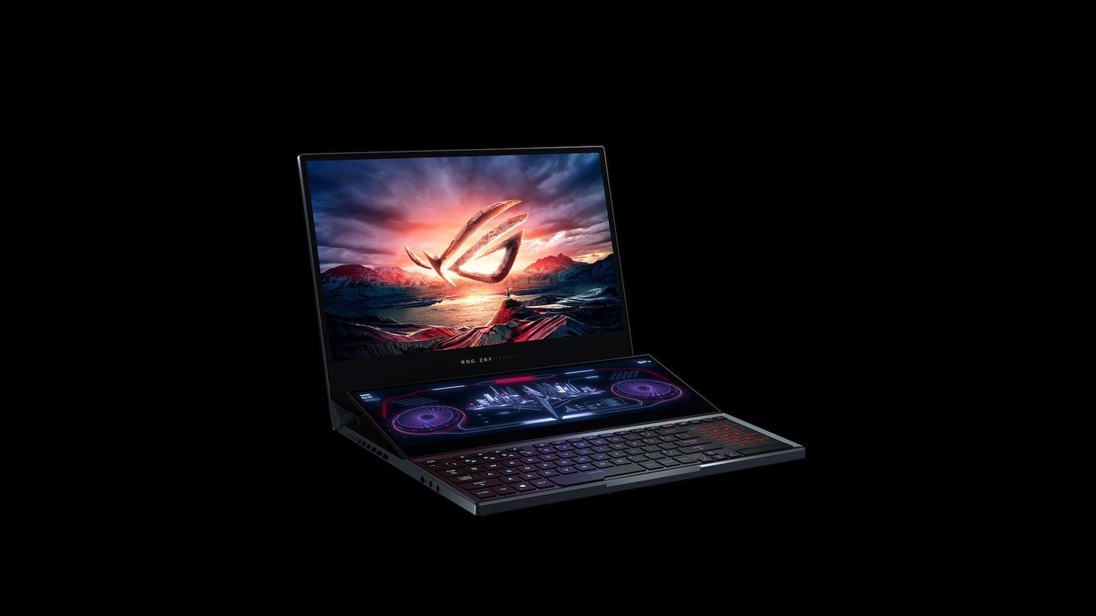 ASUS ROG Zephyrus Duo 15 Secondary Display Laptop has a smaller screen that tilts upward