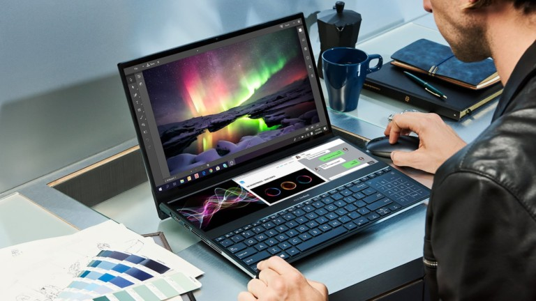 ASUS ZenBook Duo 2-Display Laptop features a full-width secondary touchscreen