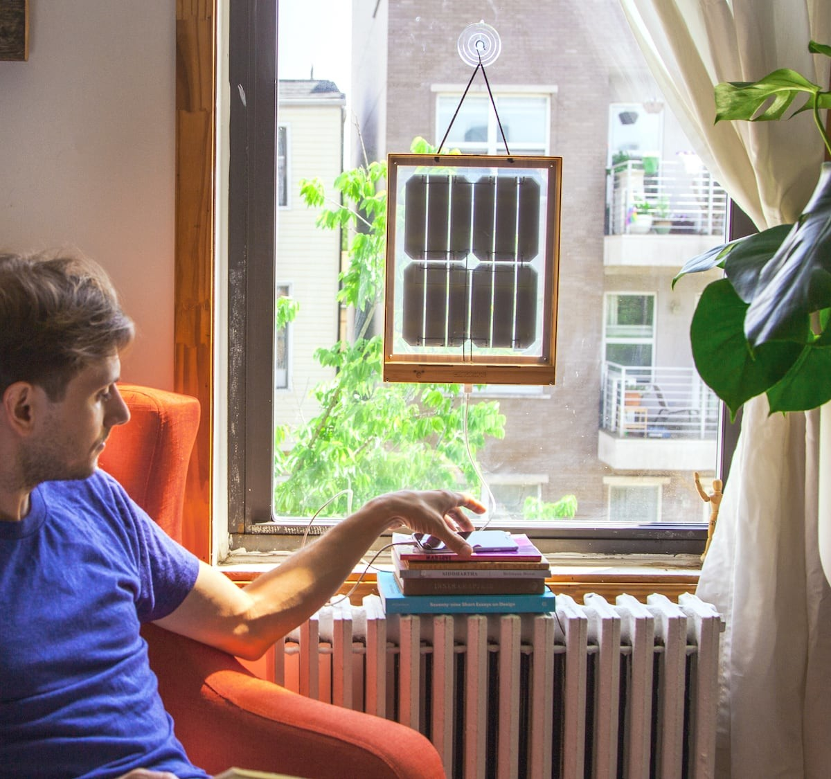 Grouphug Designer Window Solar Charger allows renters to harness the power of the sun
