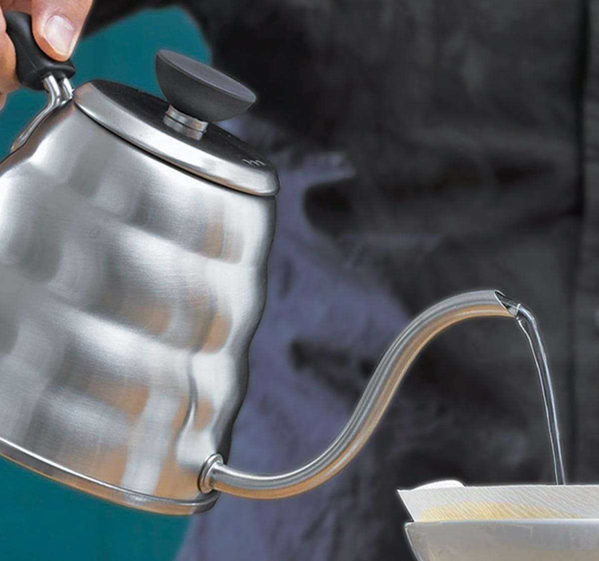 Hario V60 Buono Gooseneck Water Kettle provides an even pour-over brew