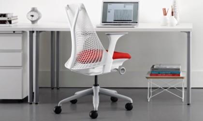 A white office chair