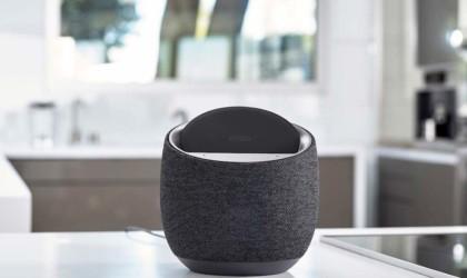 A black smart speaker