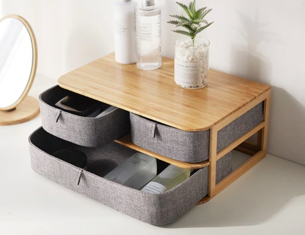 A desk organizer with drawers