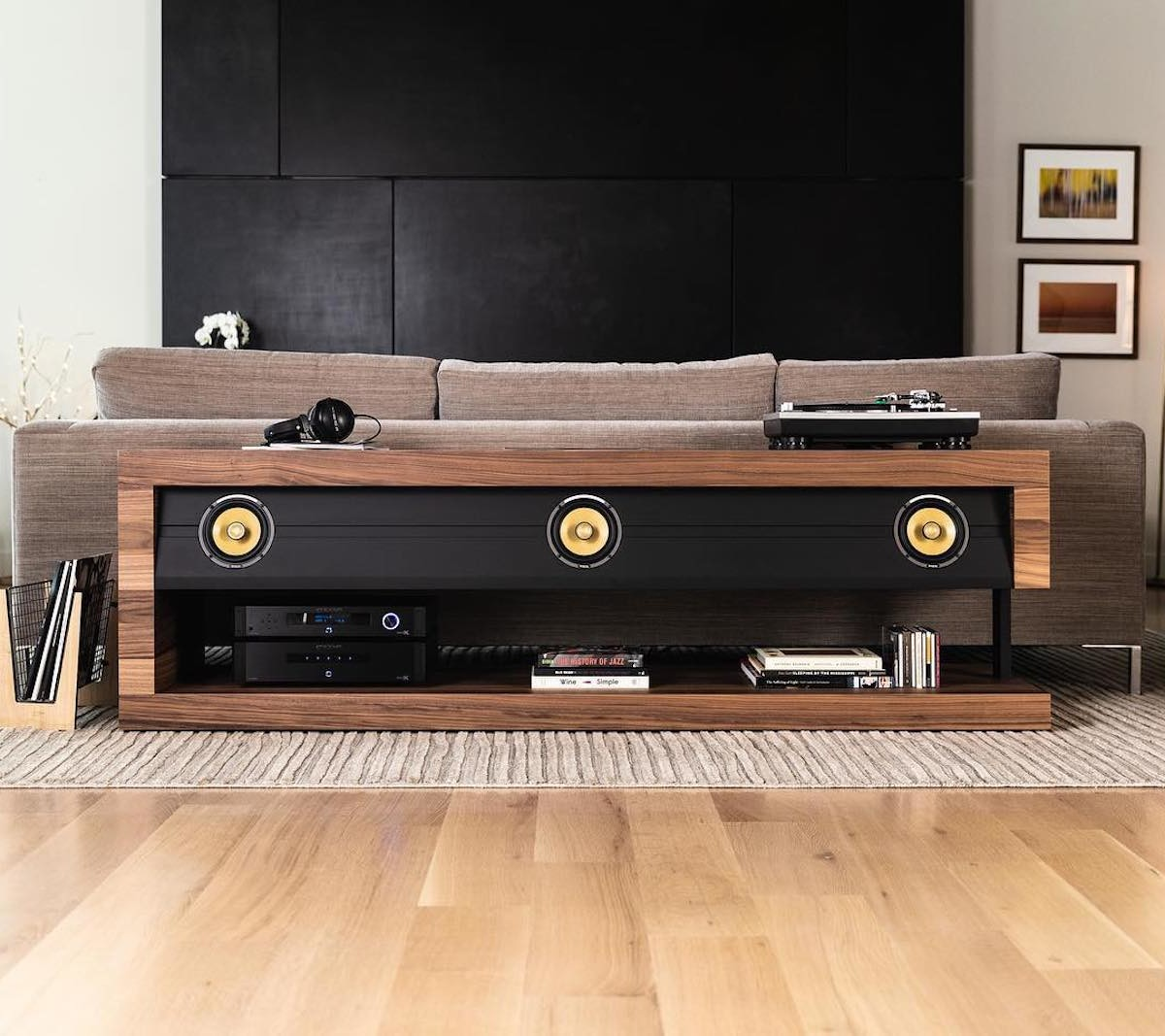 Slab Console Modern Entertainment Center replaces four individual speakers