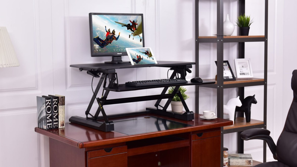 Tangkula Dual-Monitor Standing Desk offers smooth and easy adjustments