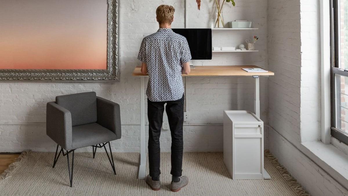 Uhuru Design Frame Sit-Stand Desk in a Home Office