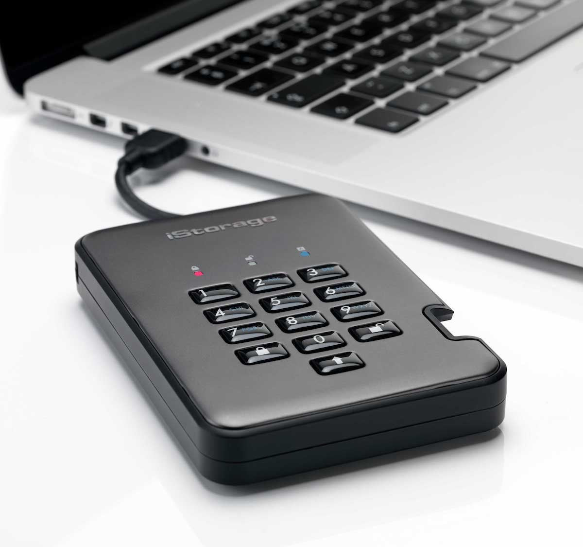 iStorage diskAshur PRO2 Secure Hard Drive unlocks with a unique PIN