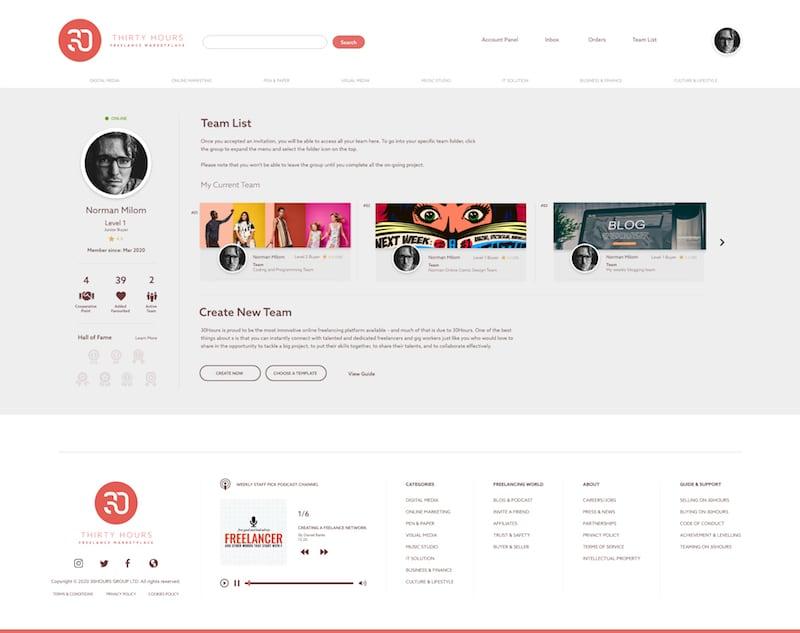 30hours platform mockup - freelance account panel