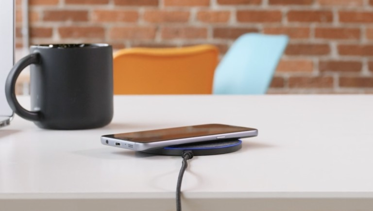 Bluelounge Owen Wireless Charger Qi Charging Pad blends in sleekly on your desk