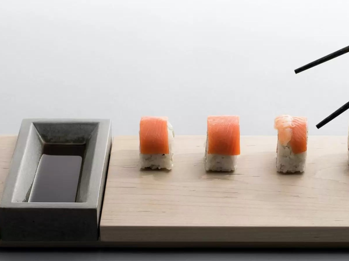 Komolab Concrete Bowl & Wood Appetizer Tray Dining Set improves your dinner party presentation