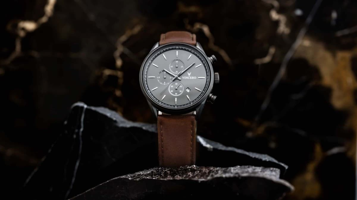This elegant chronograph watch will help you impress your boss