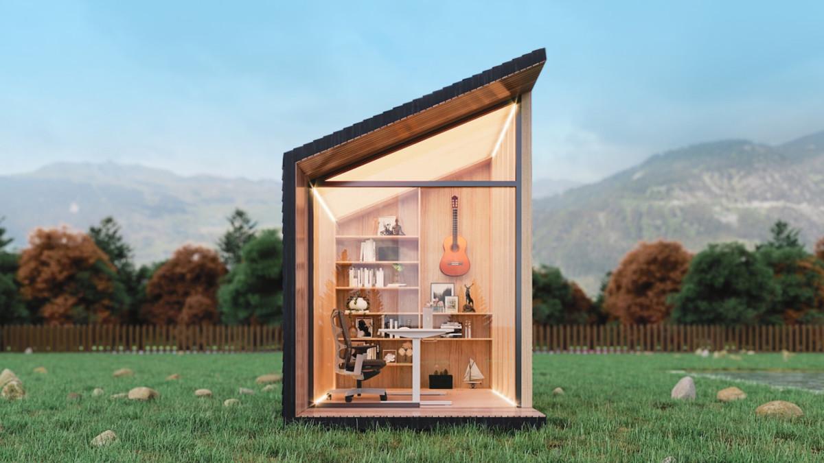 Autonomous Zen Work Pod Outside Office creates a private focus station in your garden