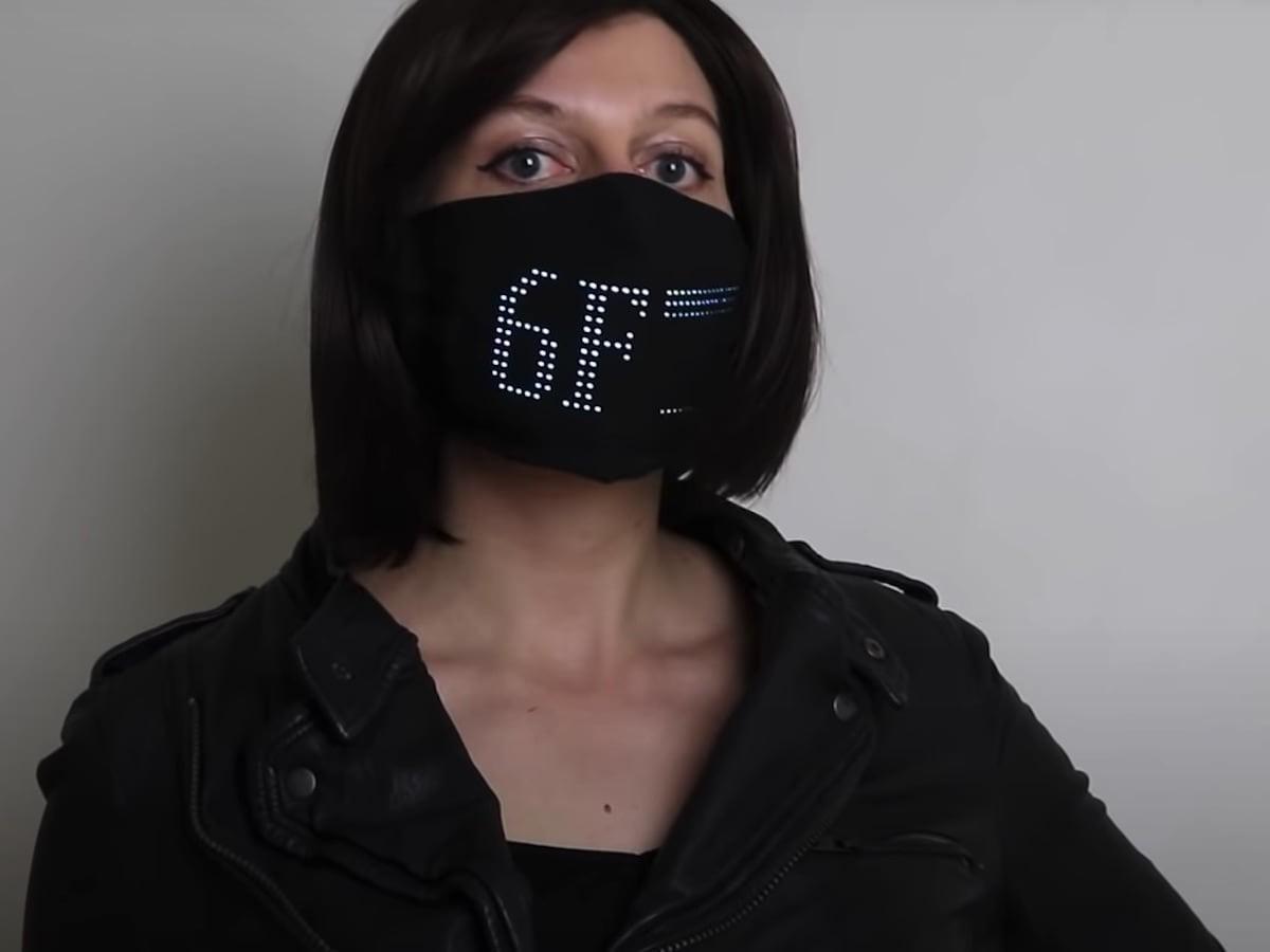 Lumen Couture LED Matrix Light Up Face Mask responds to sound