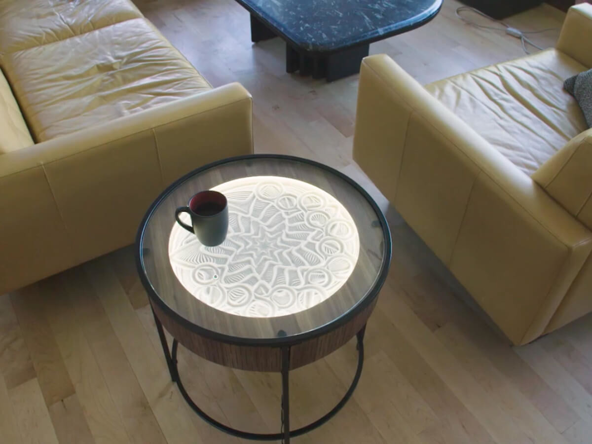 Sisyphus Industries Kinetic Art Table Hardwood Furniture features dimmable LED lights