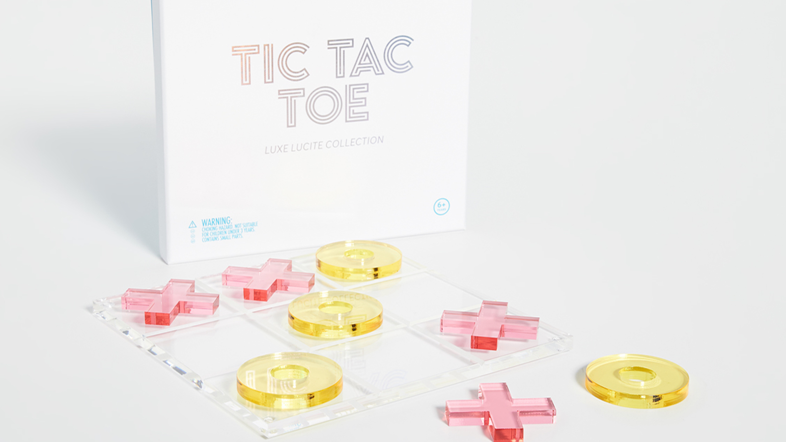 SunnyLife Lucite Tic Tac Toe Transparent Board Game keeps kids entertained