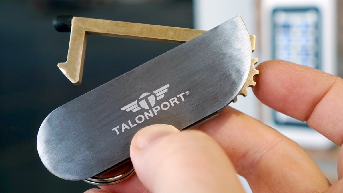 Talontag Flip-Out Brass Tool keeps your hands free of germs